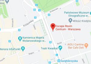 mapa escape room warszawa
